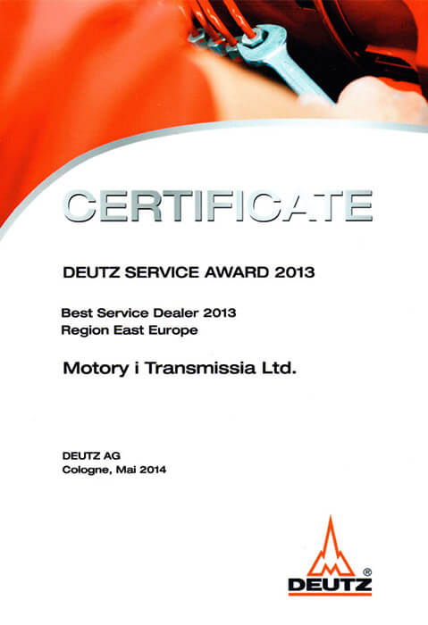Deutz Service Award 2013 Best Service Dealer Region East Europe