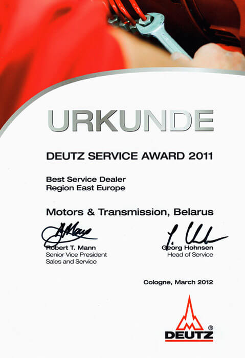 Deutz Service Award 2011 Best Service Dealer Region East Europe
